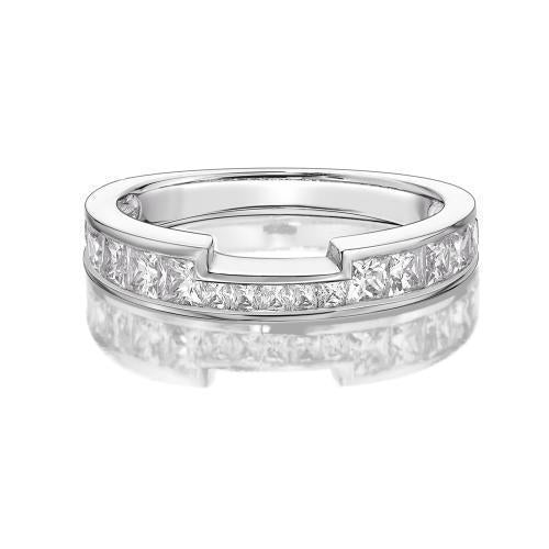 Princess Channel Set Cut Out Band in White Gold