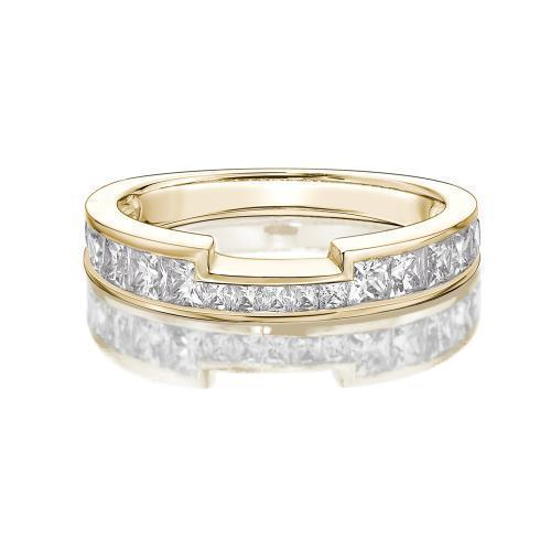 Princess Channel Set Cut Out Band in Yellow Gold