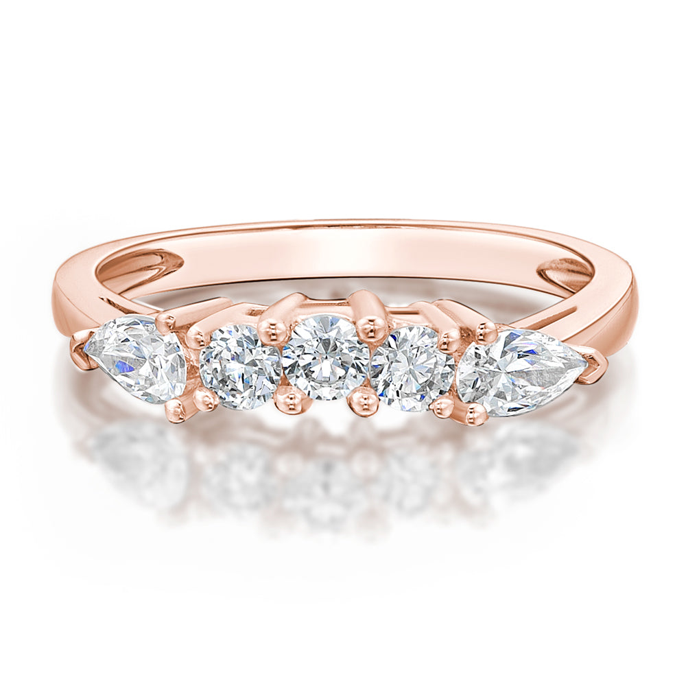Round Brilliant and Pear Curved Ring in Rose Gold