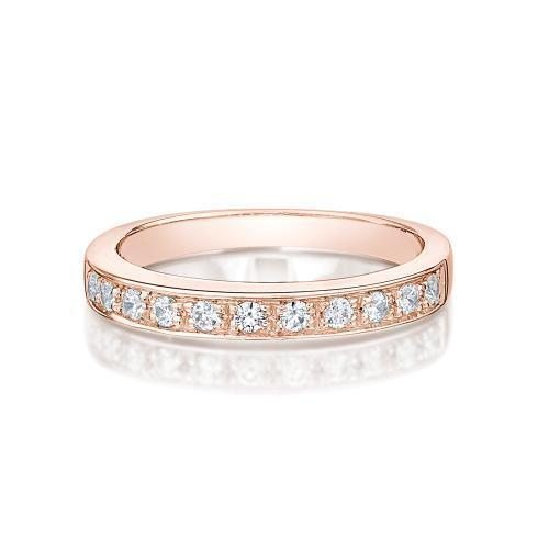 Round Brilliant Grain Set Ring in Rose Gold