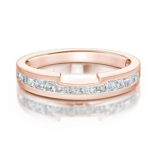 Princess Cut-Out Wedding Band in Rose Gold