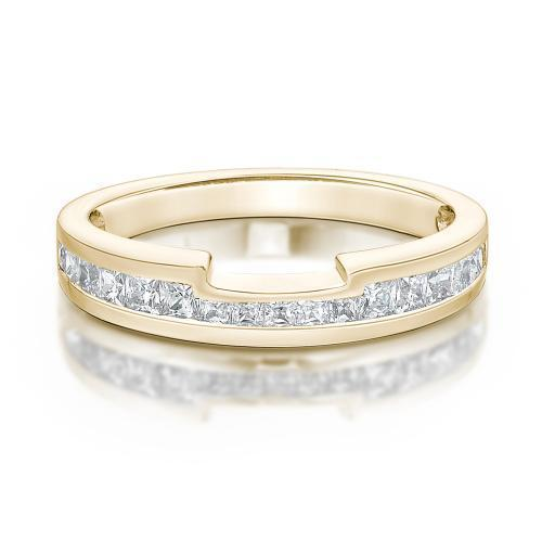 Princess Cut-Out Wedding Band in Yellow Gold