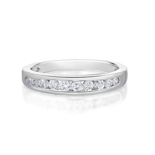 Round Brilliant Cut Channel Set Band in White Gold