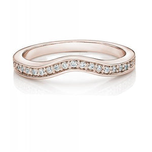 Round Brilliant Grain Set Curved Band in Rose Gold