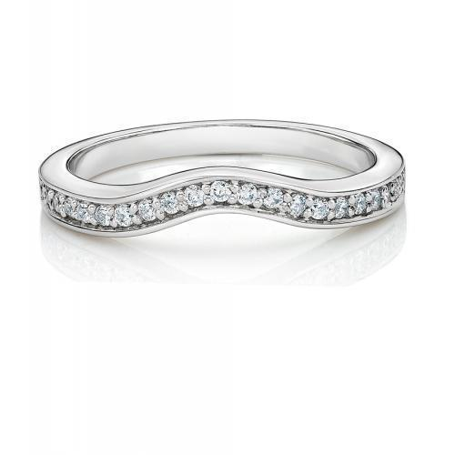 Round Brilliant Grain Set Curved Band in White Gold