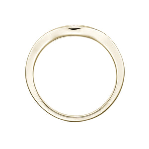 Large Split Band Solitaire with Grain Set Curved Band Set in Yellow Gold w/ White Gold Setting