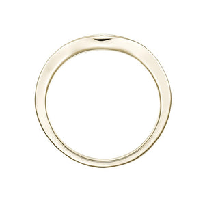Round Brilliant Grain Set Curved Band in Yellow Gold