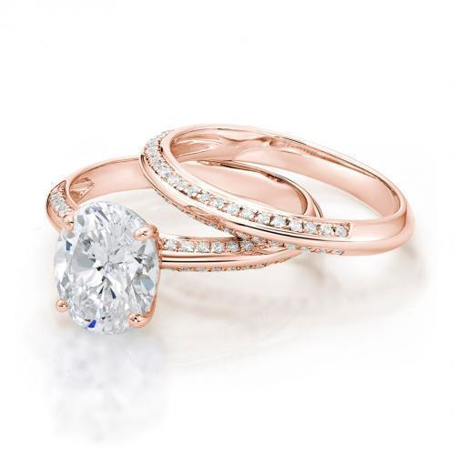 Oval Cut Knife Edge Engagement Ring and Band Set in Rose Gold