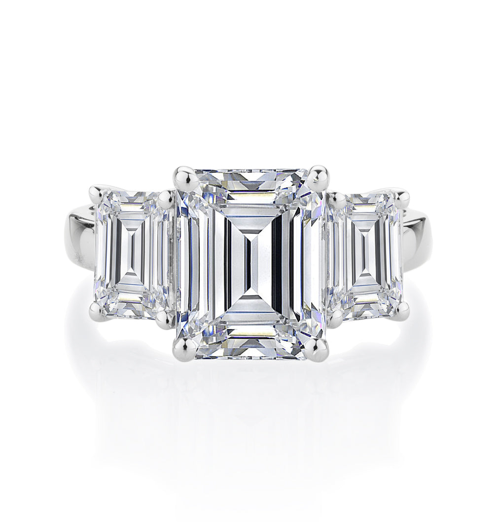 3 Stone Emerald Cut Claw Set 10ct White Gold Ring