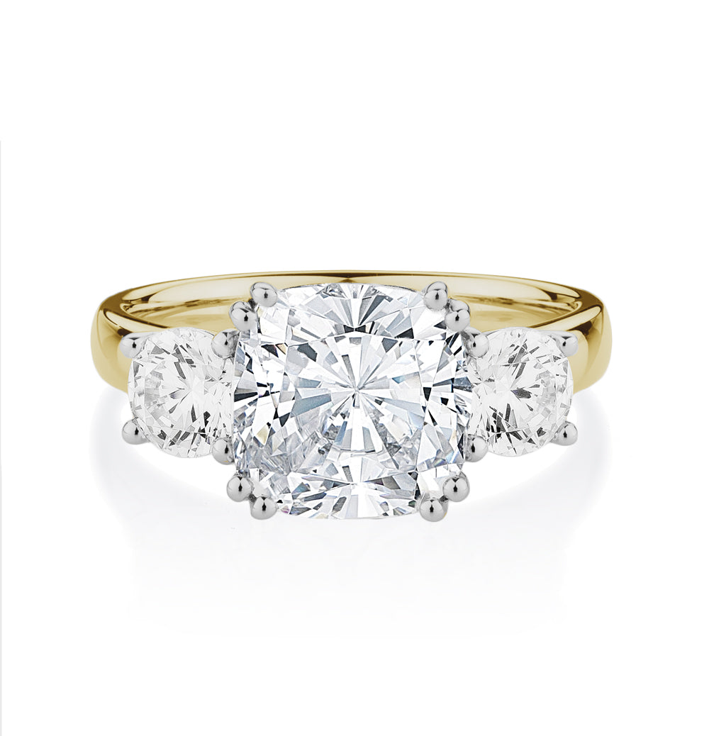 Cushion Cut 3 Stone Ring In Yellow Gold With White Gold Setting