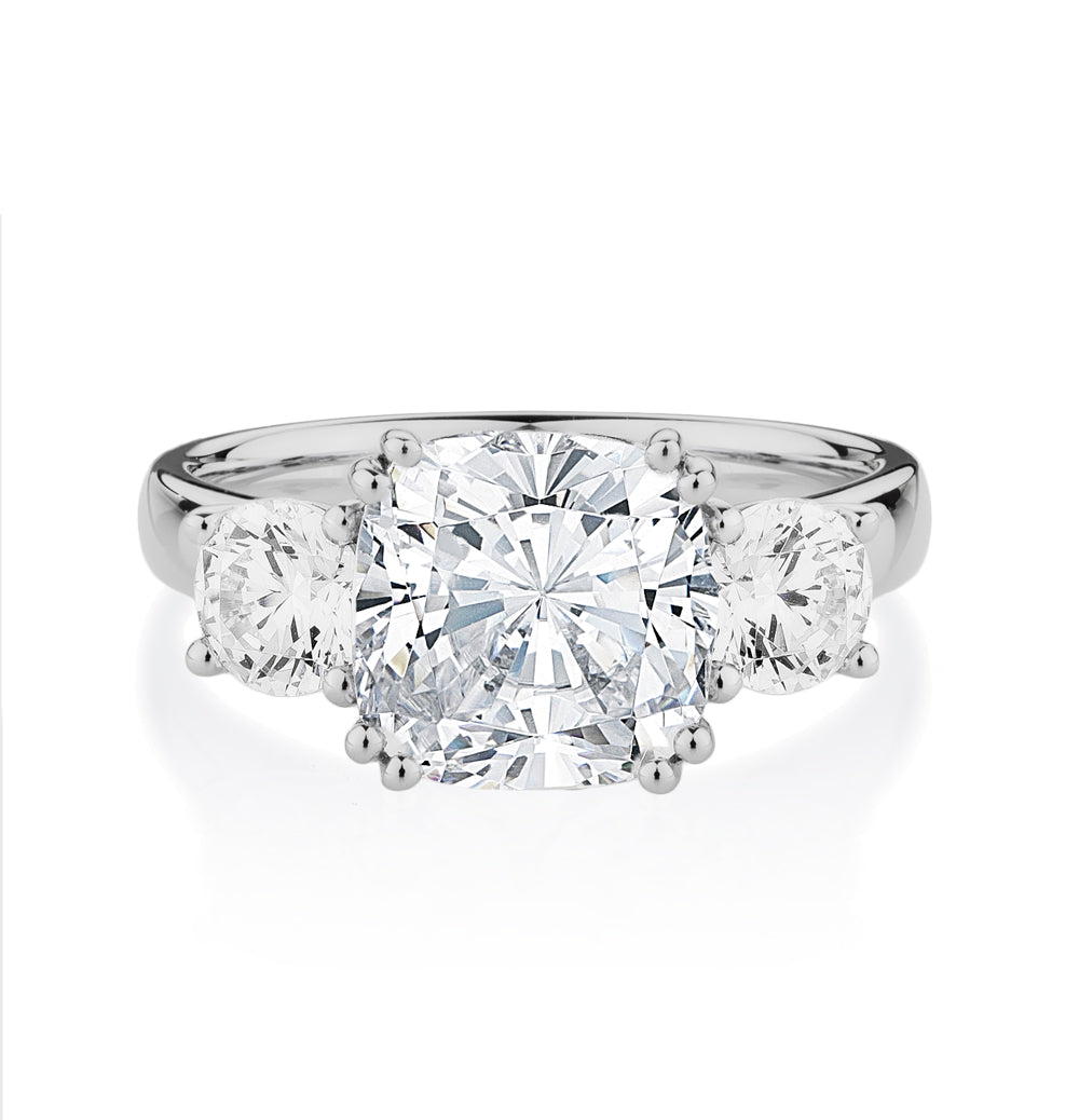 Cushion Cut 3 Stone Ring in White Gold