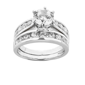 Claw and Channel Set Engagement Ring with band set in White Gold