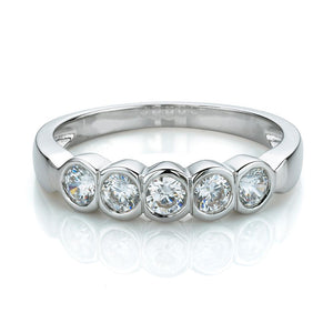 5 Stone Bezel Set Ring in White Gold