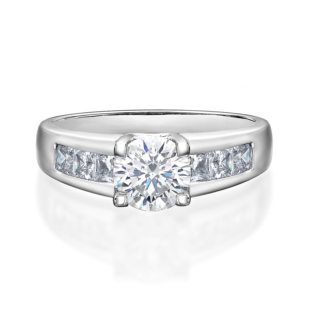Brilliant Cut Engagement Ring in White Gold