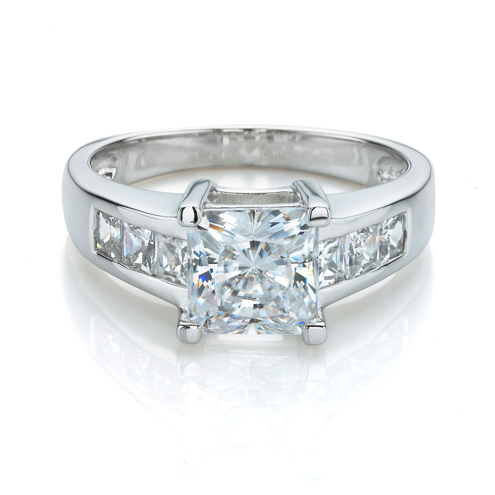Princess Cut Engagement Ring with Channel Set Side Stones in White Gold