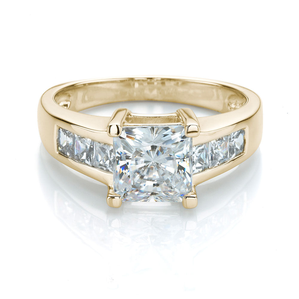 Princess Cut Engagement Ring with Channel Set Side Stones in Yellow Gold
