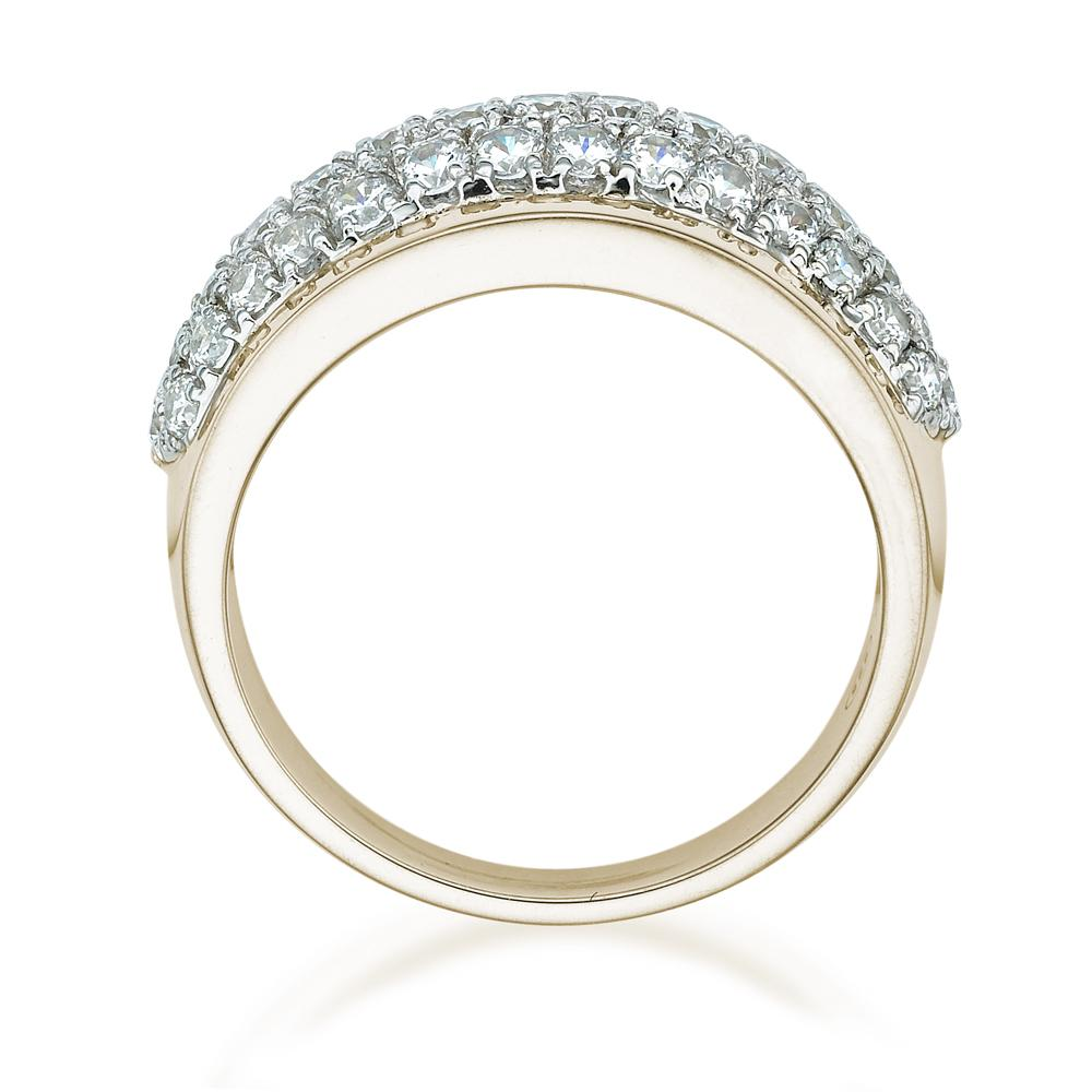 Curved Micro Pave Dress Ring in Yellow Gold with White Gold Setting