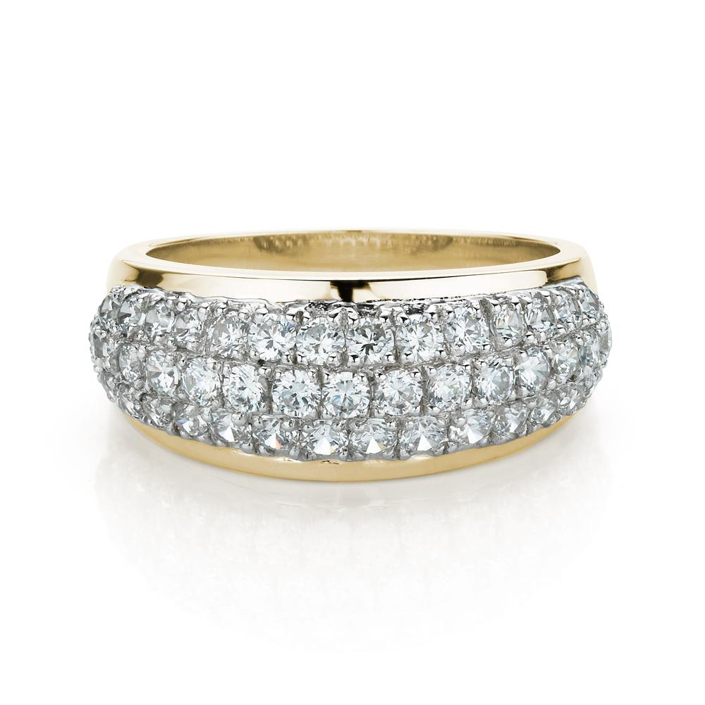 Curved Micro Pave Dress Ring in Yellow Gold w/ White Gold Setting