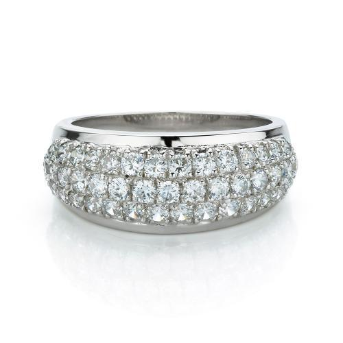 Curved Micro Pave Dress Ring in White Gold
