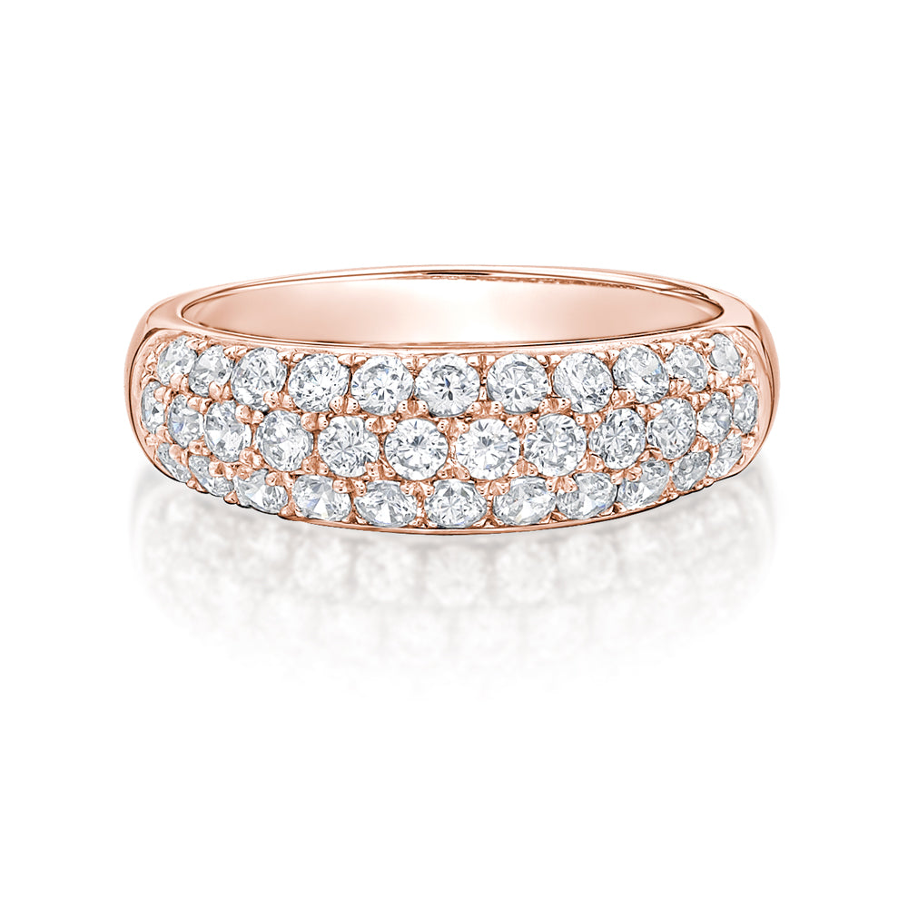 Round Brilliant Pave Dress Ring in Rose Gold
