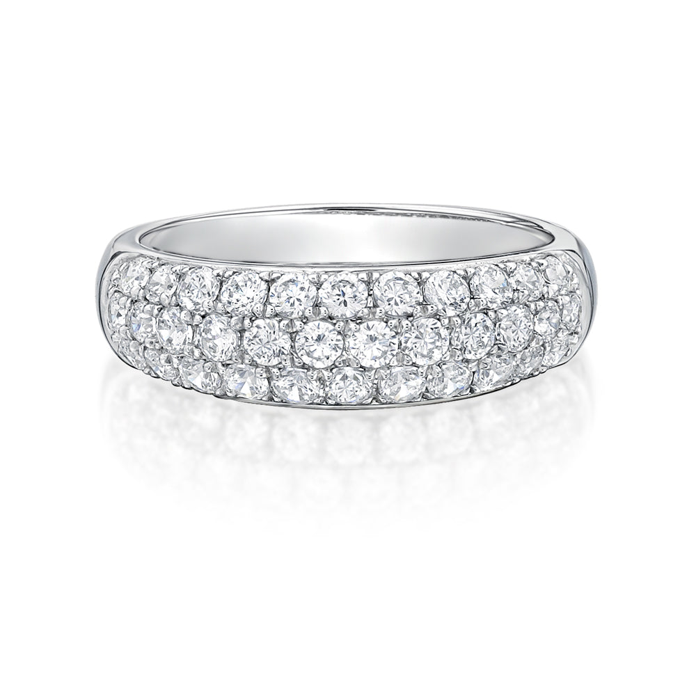 Round Brilliant Pave Dress Ring in White Gold