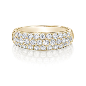 Round Brilliant Pave Dress Ring in Yellow Gold