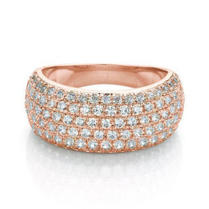 Wide Micro Pave Dress Ring in Rose Gold