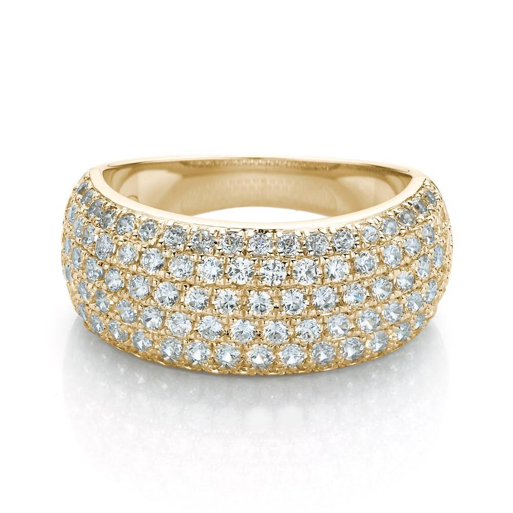 Wide Micro Pave Dress Ring in Yellow Gold