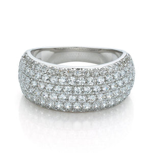 Wide Micro Pave Dress Ring in White Gold