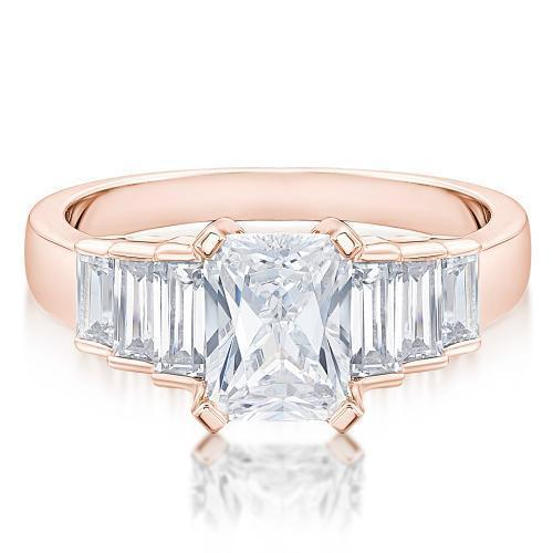 Radiant and Baguette Cut Staggered Ring in Rose Gold