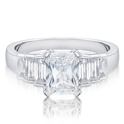 Radiant and Baguette Cut Staggered Ring in White Gold