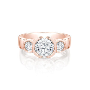 3 Stone Round Semi Bezel Ring in Rose Gold