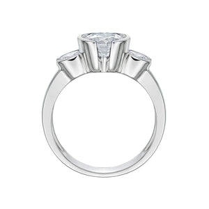 3 Stone Round Semi Bezel Ring in White Gold