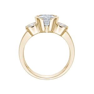 3 Stone Round Semi Bezel Ring in Yellow Gold