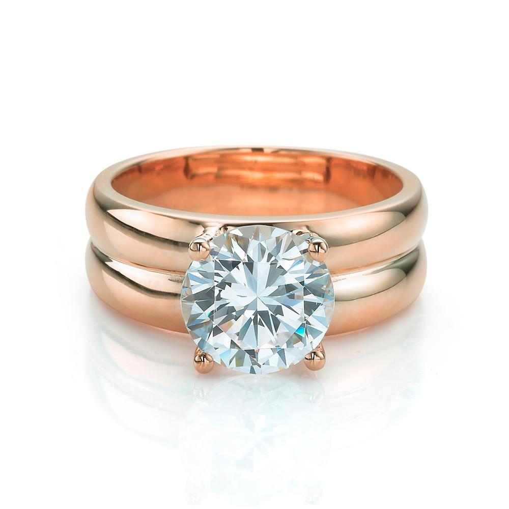 Double Band Brilliant Cut Solitare in Rose Gold
