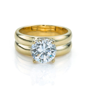 Double Band Brilliant Cut Solitare in Yellow Gold