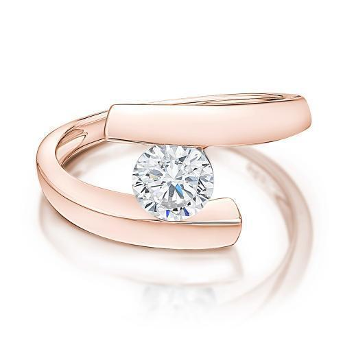 Round Brilliant Open Ring in Rose Gold