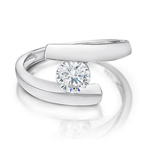 Round Brilliant Open Ring in White Gold