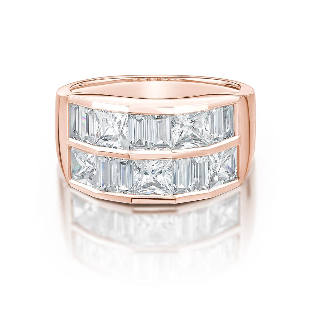 Double Row Channel Set Ring in Rose Gold