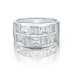 Double Row Channel Set Ring in White Gold