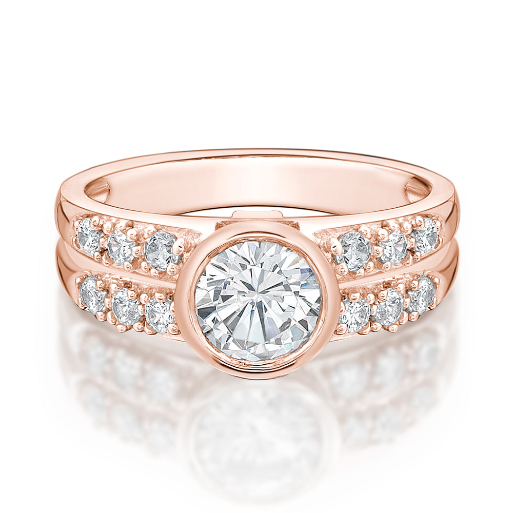 Double Row Bezel Set Ring in Rose Gold
