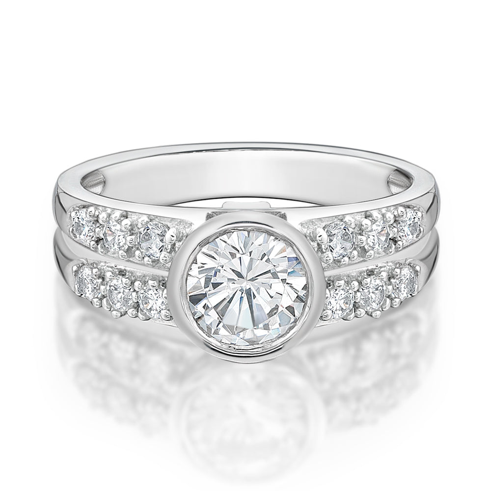 Double Row Bezel Set Ring in White Gold