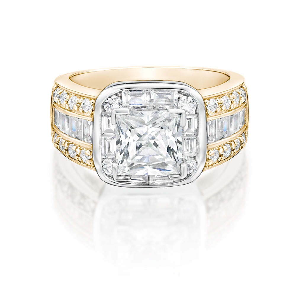 Art Deco Inspired Dress Ring Yellow Gold w/ White Gold Setting