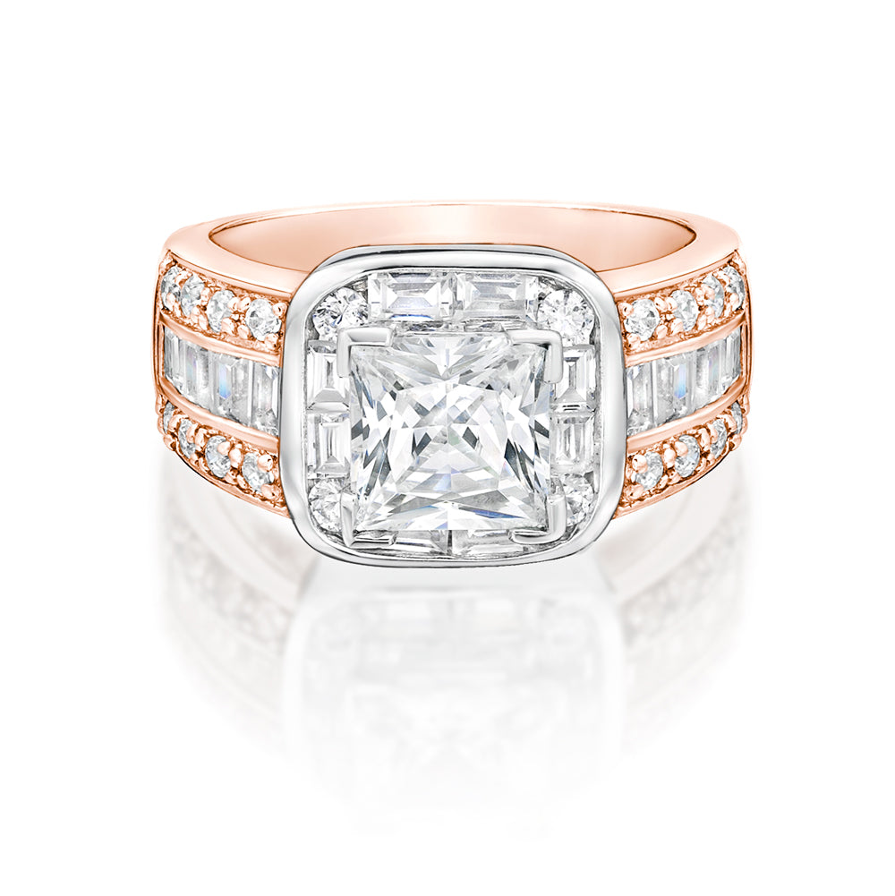 Art Deco Inspired Dress Ring Rose Gold w/ White Gold Setting