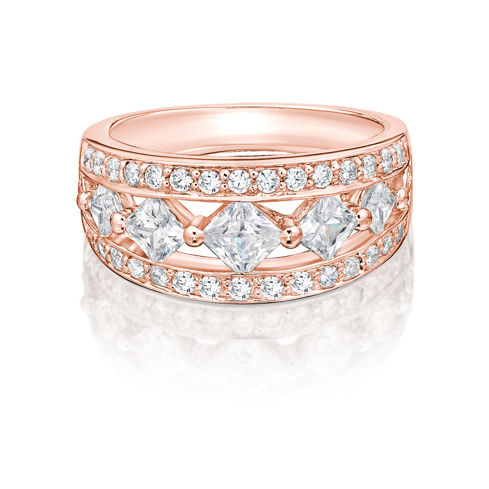 Round & Princess Cut Fancy Cut-Out Band in Rose Gold