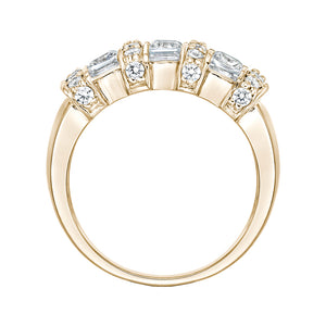 Channel Set Princess Cut Ring in Yellow Gold