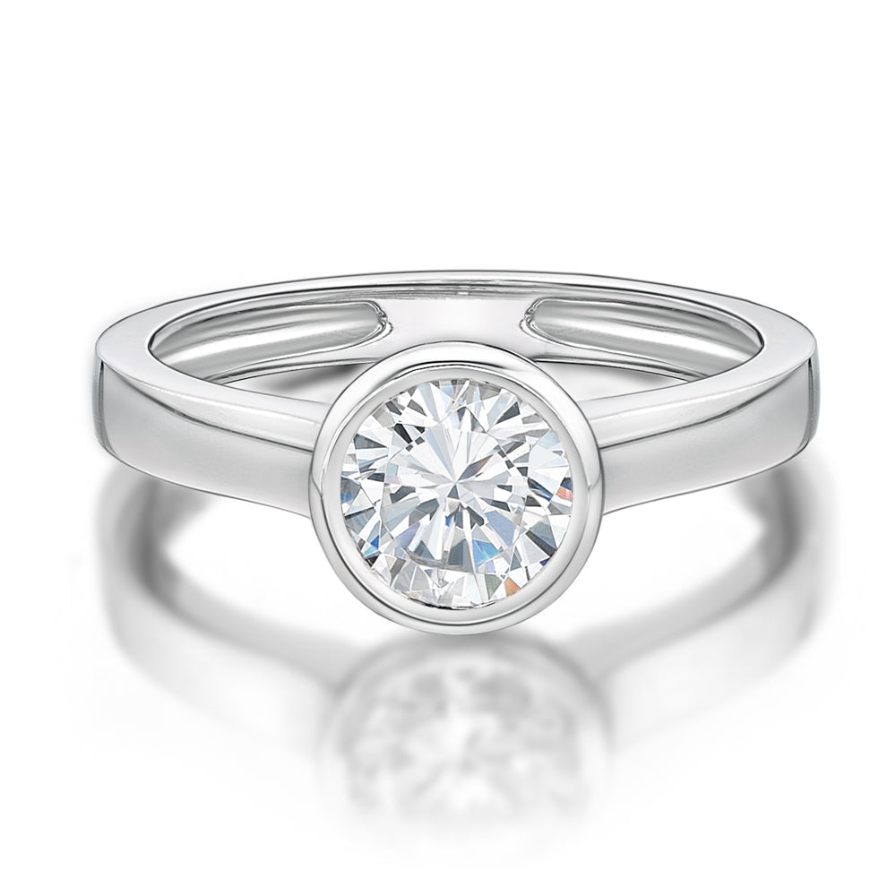 Round Brilliant Cut Bezel Set Ring in White Gold