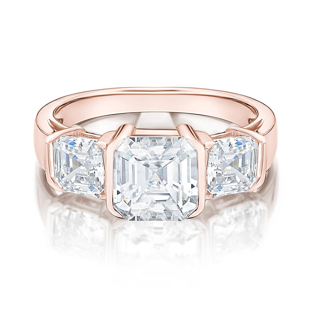 3 Stone Asscher Cut Semi Bezel Ring in Rose Gold