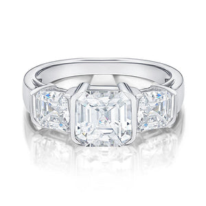 3 Stone Asscher Cut Semi Bezel Ring in White Gold