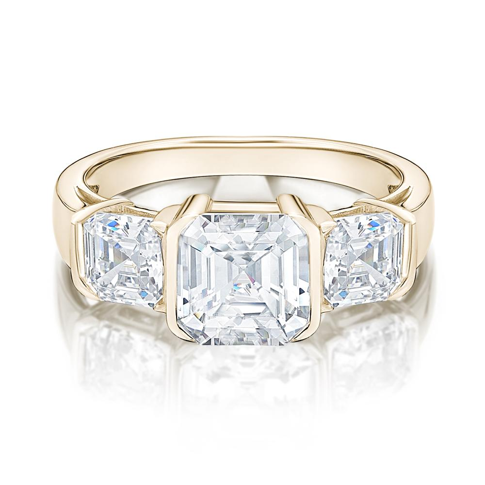 3 Stone Asscher Cut Semi Bezel Ring in Yellow Gold